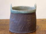 Stoneware oval 2-handled vessel<br/>with turquoise rim & interior by Paul Philp